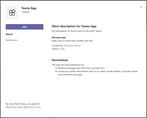 Screenshot showing an example of a Teams app install dialog.